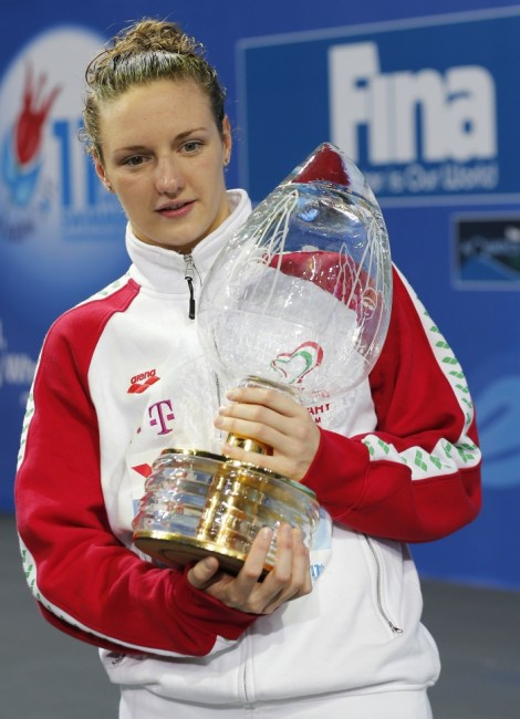 Hosszu of Hungary poses with her trophy for best female swimmer during the award ceremony at the FINA World Swimming Championships in Istanbul