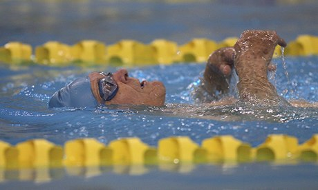 Race against time … Jaring Timmerman – who is 100 years old – swims the backstroke.